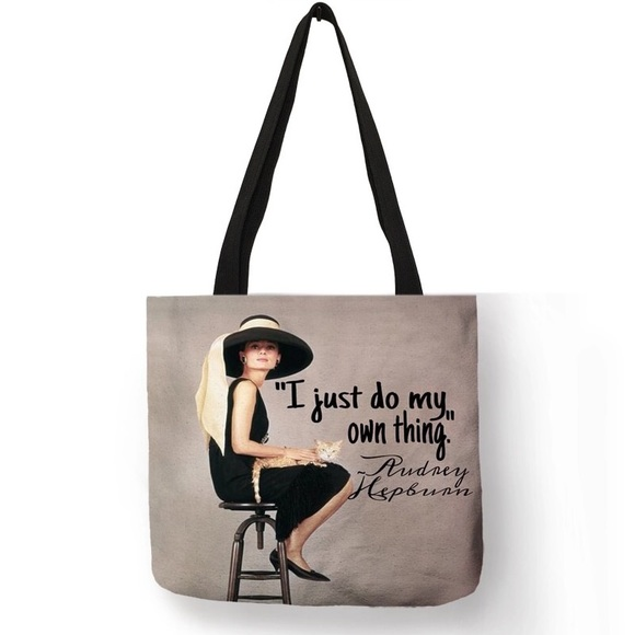 "Inspired Closet Handbags - NEW! Audrey Hepburn ""I Just Do My Own Thing"" Tote"